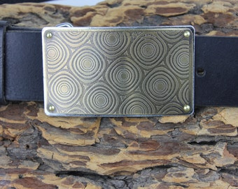 Etched Brass Belt Buckle Riveted interchangeable - Custom Etching available