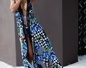 Sexy Women Summer Long Maxi Elegant Resort Open Front Butterfly Print Chiffon Dress