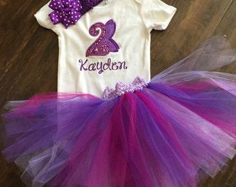 Personalized applique birthday onesie and tutu set ~ fairy