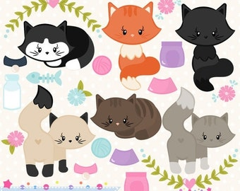 80% OFF - INSTANT DOWNLOAD, cat clipart and vectors for crafts and products