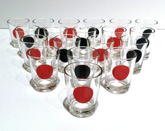 Vintage RED and BLACK Polka Dot Shot Glasses / Set of 17 / MOD Retro Barware / 1950s / Unique / Rare / Serious Shots