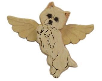 Angel Dog West Highland Terrier Dog Angel Wooden Wall Hanging