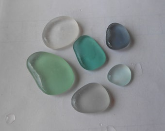Genuine sea glass, light aqua gray  light grey teal  white  pale green sea glass, collectible, home decor#jewelry, stackable 6 pieces  SG94
