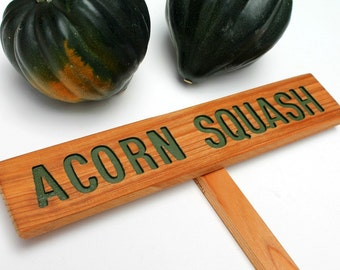 ACORN SQUASH Garden Marker, Vegetable Sign,  Painted & Oil Sealed Cedar Wood: Hand Routed Sign, Garden Decoration, Custom Garden Sign