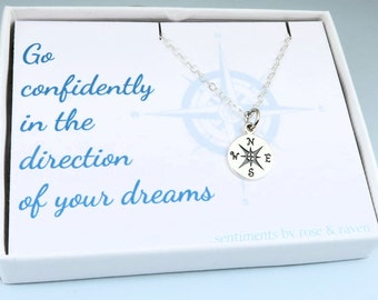 Compass Necklace - go confidently - message card - silver compass travel jewelry - enjoy the journey - graduation gift
