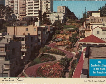Lombard Street, San Francisco Antique Postcard, 1978