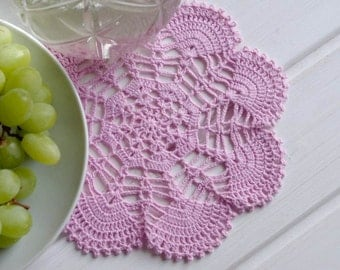 Crochet doily Small lilac cotton lace doily Crochet doilies Pink doily Home decor elements 313