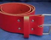 "Red Leather Belt 2"" Wide (50mm) with Choice of Buckle and Sizes Handmade Real Leather"