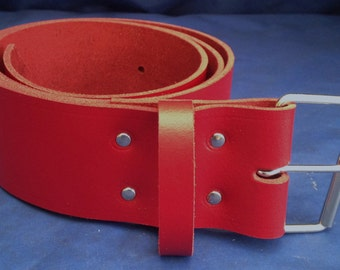"""Red Leather Belt 2"""" Wide (50mm) with Choice of Buckle and Sizes Handmade Real Leather"""