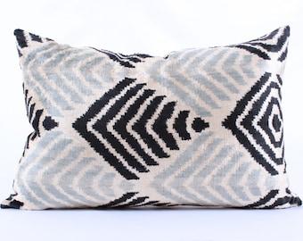 Ikat, Velvet, Pillow Cover, Uzbek, Soft, Ikat, Black, Grey Pillow, Velvet Pillow, Decorative Throw Pillow Cover, Accent Velvet,