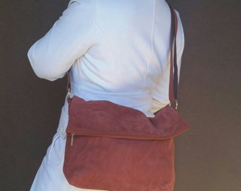 Suede Leather Bag Purse, FoldOver Crossbody Bag, Fashion Everyday Leather Bags, Trendy  Bag,  julia
