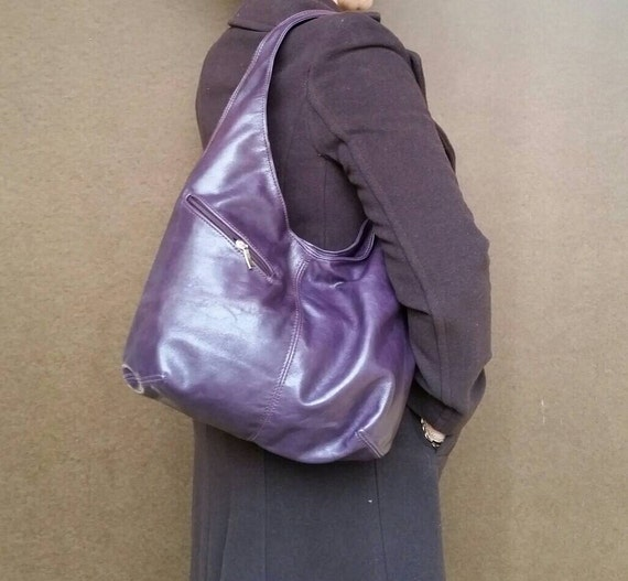Distressed Purple Leather Hobo Bag with Outside Pockets