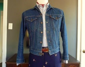 """RARE Vintage 1980s Levi's Denim Jacket / Jean Jacket / Trucker Jacket """"Little e"""" Youth Size 18 Men's Size 36 or 38 R.  Made in USA."""