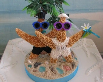 Starfish on a Beach Wedding Cake Topper~Palm Trees Wedding Cake Topper~Seashell Cake Topper!
