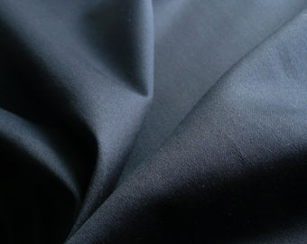 Navy sateen Cotton Elastane woven fabric with stretch - Ideal for tailoring - Sold by the metre - UK SELLER