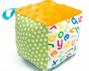Soft Block Baby Toy - Aqua and Orange Alphabet Soft Block - Ready to Ship