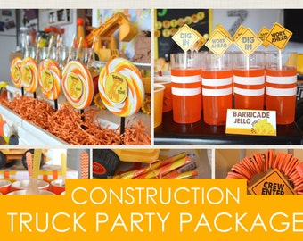 Construction Truck Party Package | Construction Party Decorations | Construction Truck Birthday | Construction Birthday Decor | Printable