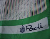 Vintage 1970s Paoli acetate scarf made in Japan striped green and white 10 x 47 inches