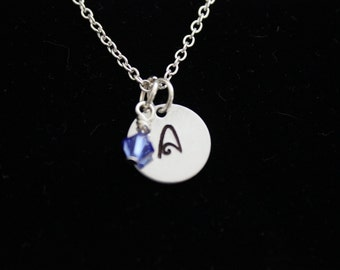Personalized Initial Silver Hand Stamped Necklace with Swarovski Crystal Birthstone, Great for Bridesmaids