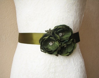 Moss green Wedding Sash, Bridal Belt, Bridesmaid Dress Belt