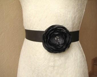 Dark gray sash Bridal floral belt Wedding accessory Bridesmaid dress sash charcoal gray