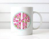 Preppy Floral Monogram Ceramic Mug   11 ounce or 15 ounce   Custom Design   Gift   Coffee