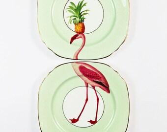 Fancy Flamingo Plate Pair
