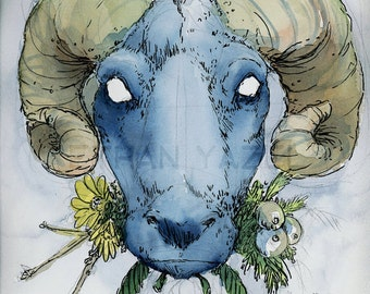 OOAK Winter Ram- Original illustration