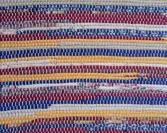 2x4 Rag Rug / Maroon, Gold, Blue, Floral