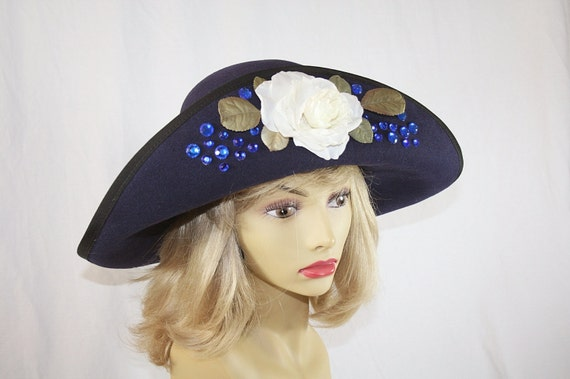 Navy Blue Wide Brim Hat