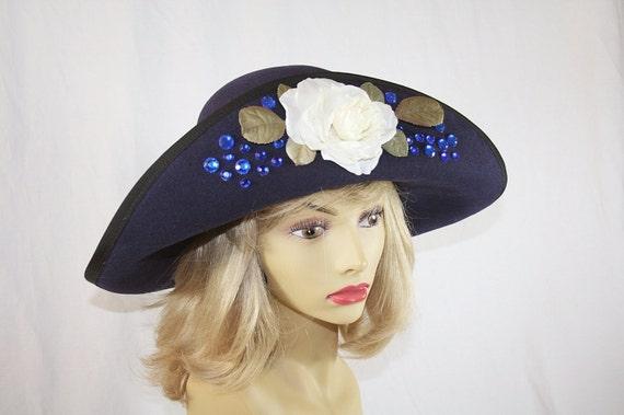 Navy Blue Wide Brim Hat