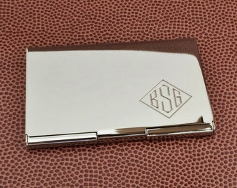 Monogram Card Case with Polished or Brushed Satin Finish Personalized Business Card Holder, Gifts Under 20