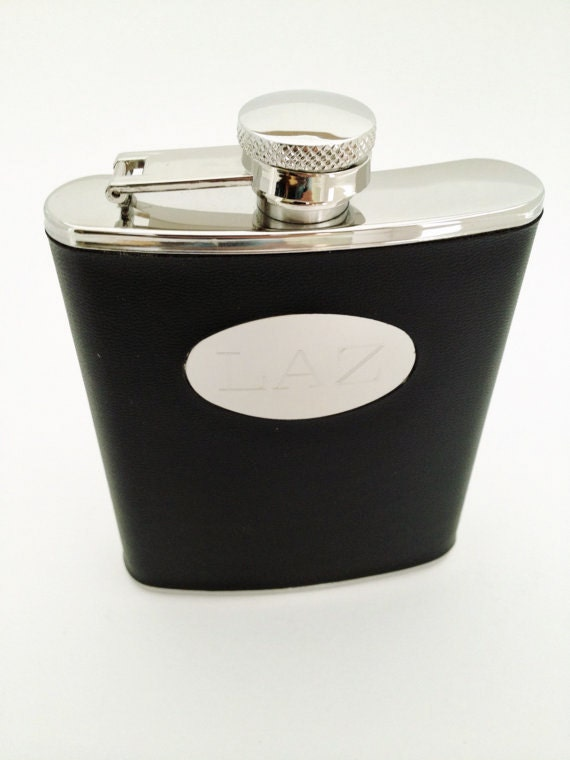 Black Wrapped Flask with Personalized with Monogram Gifts for Men Under 25