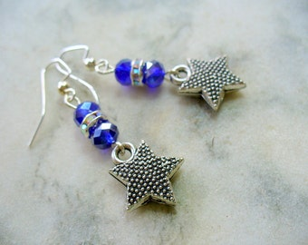 Cobalt Blue Earrings, Star Earrings, Beaded Earrings, Dangle Earrings, Silver Jewelry, Gift for Her, Weddings, Party Earrings, Blue Earrings