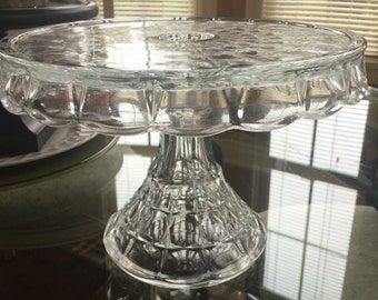 Gorgeous Clear Glass Cake Stand 10 inch Indiana Glass Constellation Pattern
