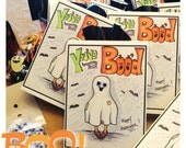 Large/heavy stock, You've been BOO'D!  Happy Halloween Boo Cards (5)