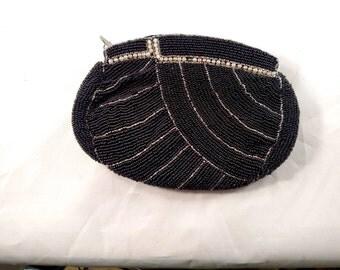 K & S Charlet Paris New York, Black Beaded Dance Bag, Excellent Condition
