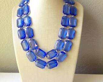 Royal Blue Statement Necklace - Chunky Jewelry Big Beaded Double Strand Necklace