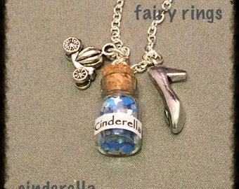 Cinderella Charm Bottle Necklace