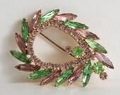 Vintage 60's Rhinestones Pink Green Brooch