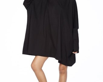 NO.62 Black Cotton Jersey Oversized T-Shirt Tunic Sweater, Women's Top