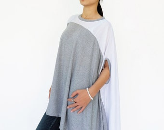 NO.197 Heather Grey and White Cotton-Blend Jersey Color Block Top, Asymmetrical T-Shirt, Women's Top