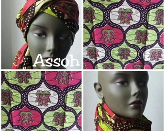 BANK HOLIDAY SALE Assoh African Ankara print tribal chic neck head wrap scarf - green, pink and beige - Summer 2016 - New
