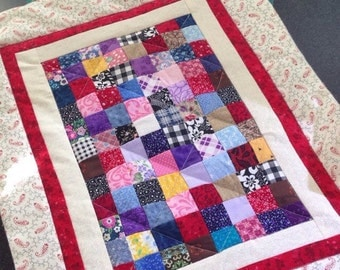 """Red Patchwork Quilt ~ Mini Amish-Style Pioneer for American Girl Kirsten Addy or Other 18"""" Doll Bed Quilted Heirloom Vintage-Look"""