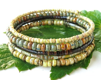 Stacked bead bracelets - earthy brown green & cream