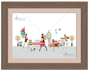 Girly Girls Shopping Fashion Illustration Photographic Print - Various Sizes - Gift Idea