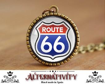 Route 66, Route 66 Necklace, Route 66 Pendant, Retro sign, Retro necklace, Retro pendant, (66)
