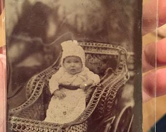 Baby in Stroller Tintype