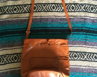 Vintage Brown Faux Leather Pull String Purse