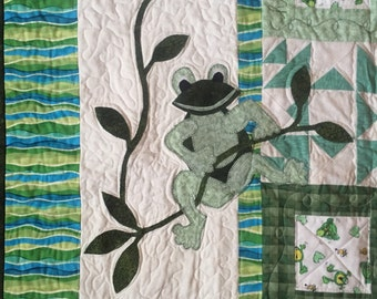 Frog Baby Boy or Girl Quilt in Greens